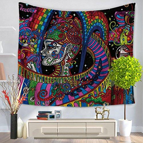 GWELL Wandteppich Psyschedelic Art Wandbehang Bohemian Hippie Tischdecke Tapestry Strandtuch Wandtuch Zimmer Deko Muster-E 150 * 130cm