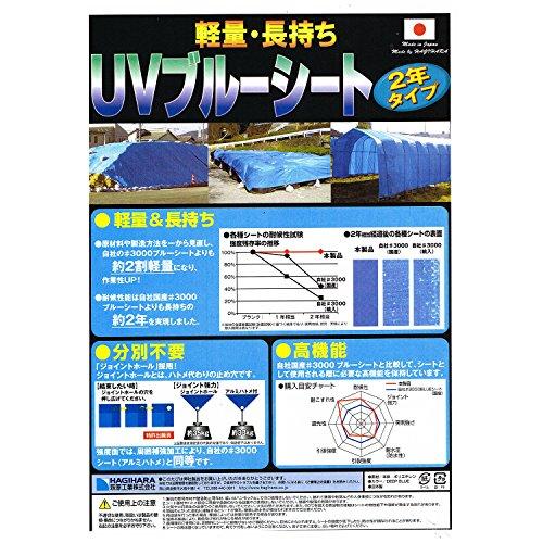 萩原工業 軽量・長持ち UVブルーシート 2年タイプ 2.7×3.6m (実寸サイズ)