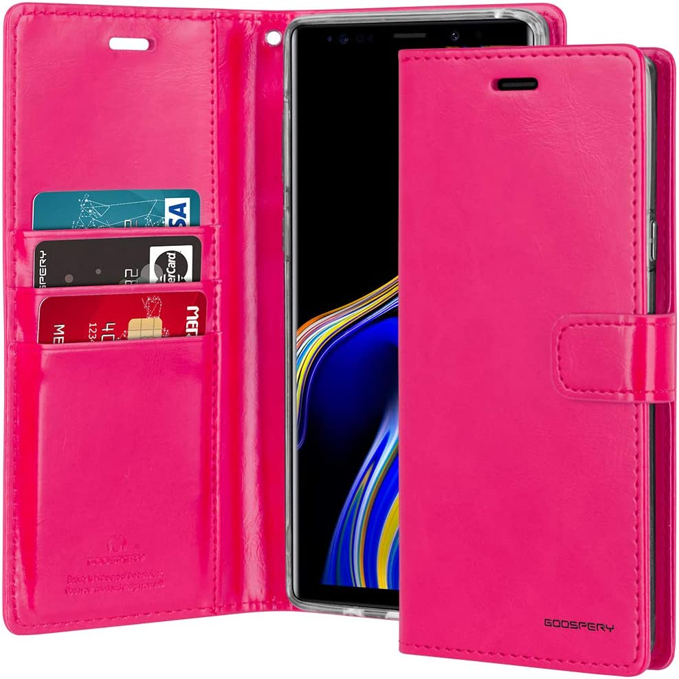 Goospery Blue Moon Wallet for Samsung Galaxy Note 9 Case (2018) Leather Stand Flip Cover (Hot Pink) NT9-BLM-HPNK