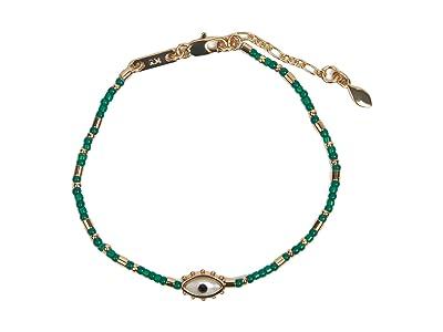 Rebecca Minkoff Evil Eye Seed Bead Bracelet (Gold/Dark Green) Bracelet