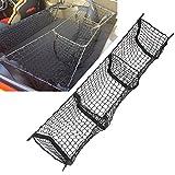 Cargo Net Three Pocket Car Organizer, Trunk Organizer for Groceries,Premium Storage net for Truck bed