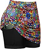 Yopchill Skorts Skirts for Women with Pockets, Ladies Plus Size Golf Clothes Spring Athletic Tennis Workout Athletic Flowy 2021 Fashion Team Wear Lightweight Breathable Flower XXL