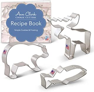 Ann Clark Cookie Cutters 3-Piece Mountain Wildlife Cookie Cutter Set with Recipe Booklet, Grizzly Bear, Moose & Fish