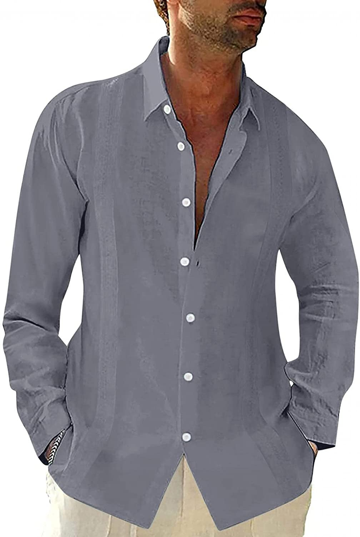 KEEYO Mens Cotton Linen Button Down Dress Shirt V Neck Casual Long Sleeve Hippie Casual Beach Yoga Fall Tops