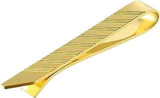 Aooaz Jewelry Tie Clips for Men Rectangular Stripe Pattern Wedding Tie Clip Gold