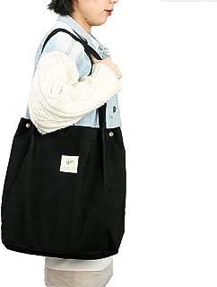 JISEN Tragetasche für Frauen Mädchen Wiederverwendbare Tragetasche Schultertasche mit Innentasche, A-schwarz, Einheitsgröße