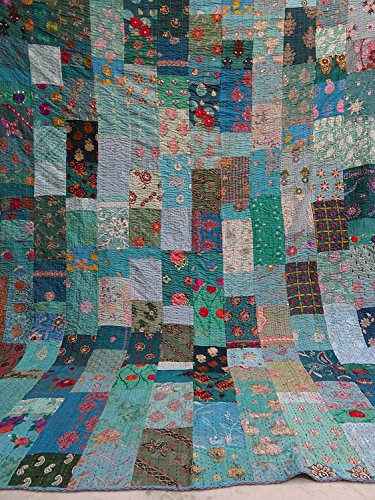 Indian Handmade copriletto reversibile in cotone Patola vintage kantha Queen Quilt, kantha Rallies, Indian Sari Quilt, design colorato a mano kantha Silk Patola, kantha coperta, 228,6 x 274,3 cm