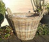 Pflanzkorb 39 cm Weide graubeige, kein Kunststoff !! Blumen Pflanzgefäß Blumentopf Korb Landhaus rund