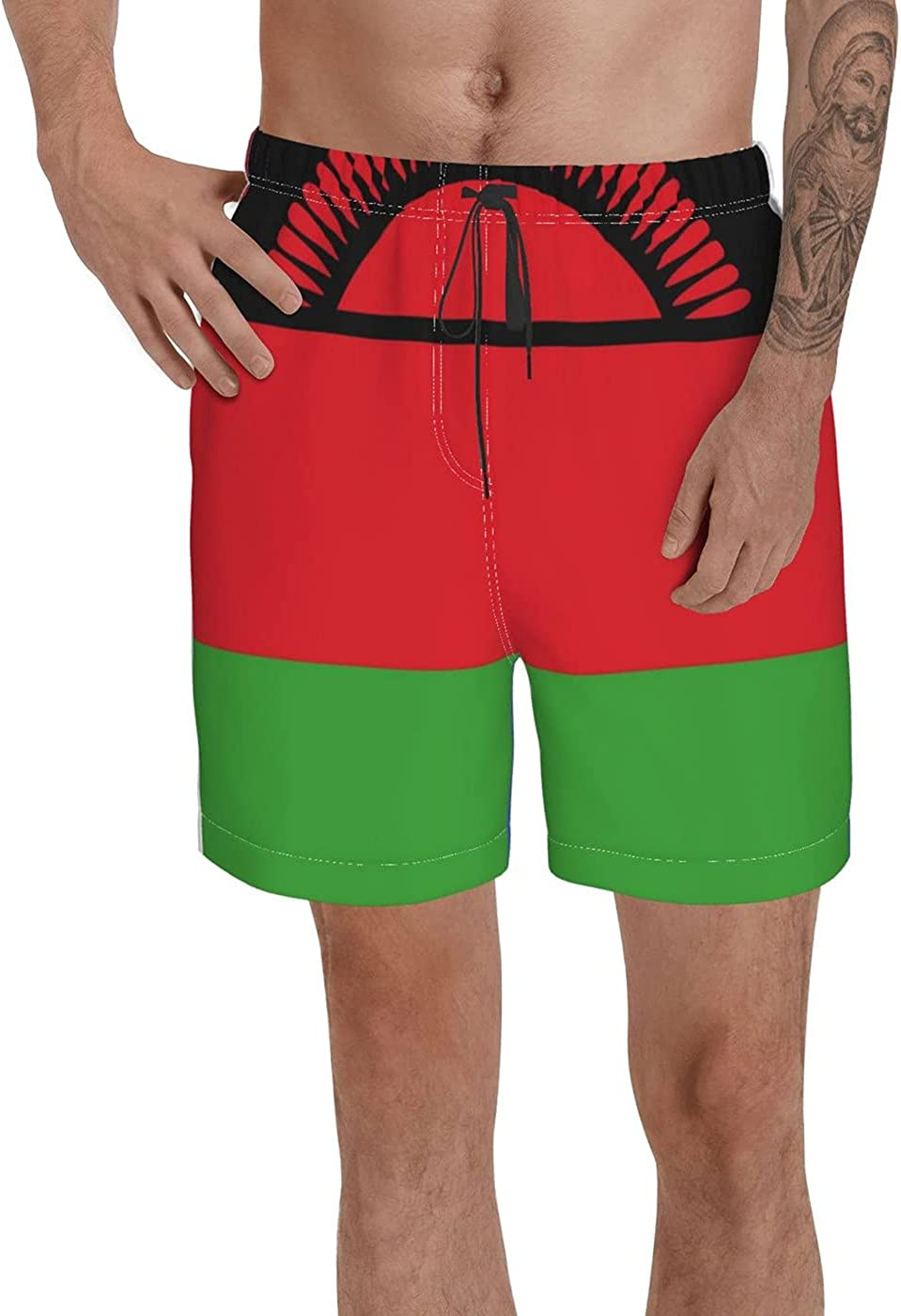 Count Malawi Flag Men's 3D Printed Funny Summer Quick Dry Swim Short Board Shorts with