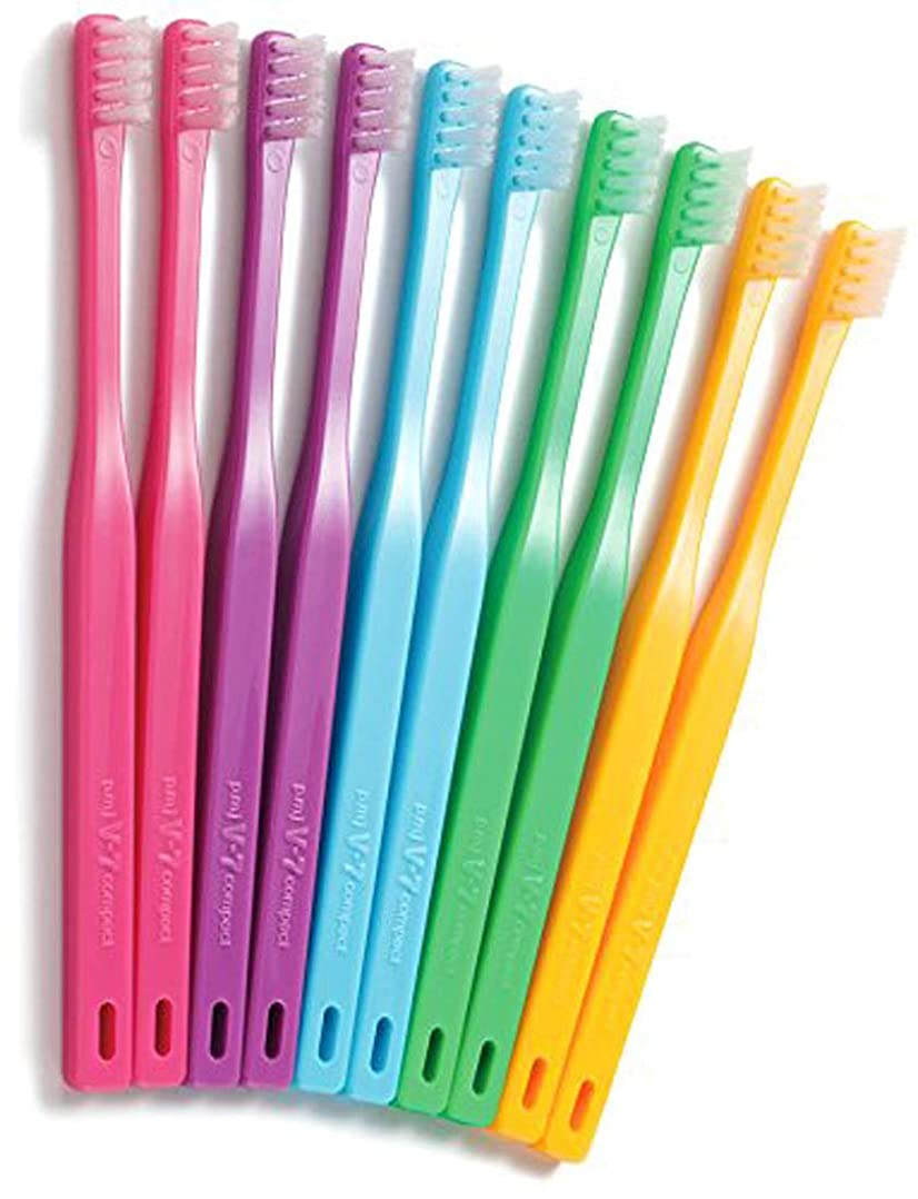 叫ぶ瀬戸際告白つまようじ法歯ブラシ V-7 コンパクトヘッド ビビッドカラー 3本
