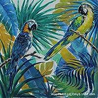NC68 大人のためのダイヤモンド塗装キット2つの熱帯雨林コンゴウインコDiy5Dスクエアフルドリルアートリラクゼーションと家の壁の装飾に最適12x16インチ(フレームレス)