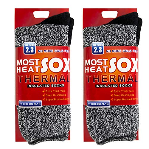 2-4 Pairs Thermal Socks for Men Thick Insulated Heated Socks Winter Warm Socks for Cold Weather(Dark Gray)