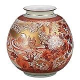 九谷焼 8号花瓶 本金赤絵牡丹おしどり :光崖