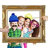 JZK 25 Photo Booth Props mit Rahmen, Brillen Lippen Krawatte Masken Hut Foto Requisiten Foto Accessoires für Hochzeit Geburtstag Taufe Babyparty Weihnachten Neujahr - 5