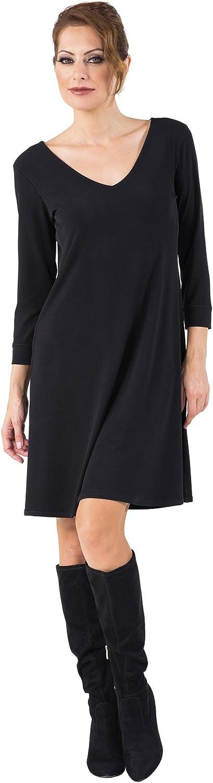 Eva Varro Women's 3 4 SLV V Neck A Line Dress