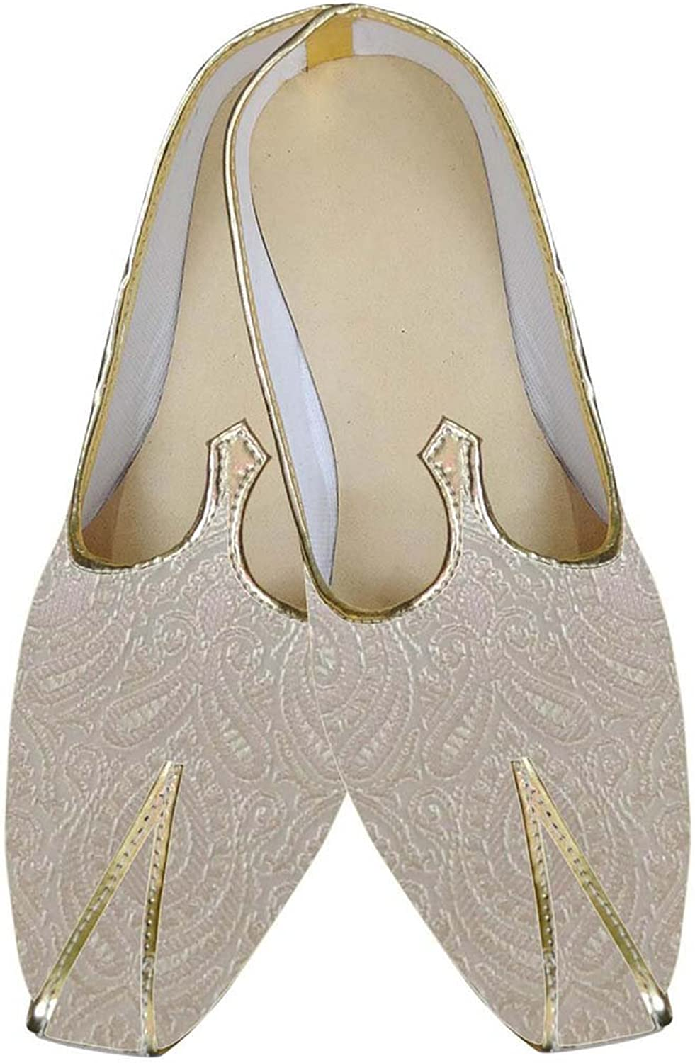 INMONARCH Mens Ivory Brocade Indian Wedding shoes MJ0163