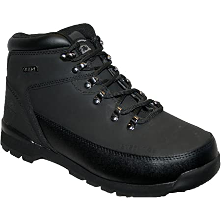 MENS LEATHER UPPERS SMART/CASUAL LACE UP STEEL TOE CAP SAFETY BOOT (UK6, Black)