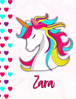 Zara: Personalized Unicorn Sketchbook For Girls With Pink Name - 8.5x 11 110 Pages- doodle ,sketch the perfect gift for bi...