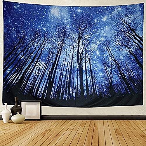 MSHAQT Tapices Azul Cielo Estrellado Árbol Paisaje Tapiz Película para Colgar En La Pared Toalla de Playa Tejido de Poliéster Interior Decoración 150Cm * 250Cm