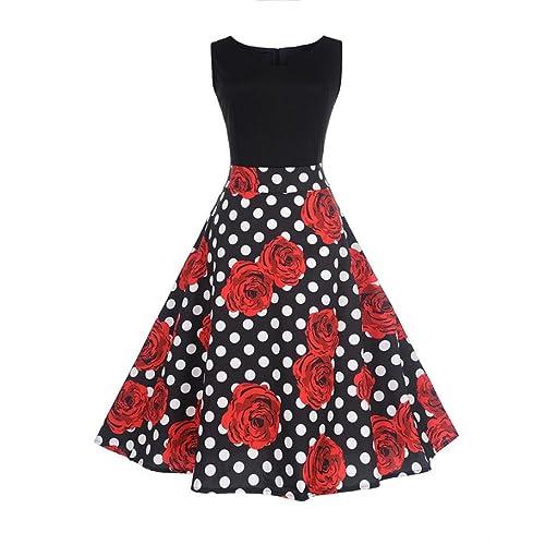Pingtr Hepburn Vintage Dress, 20's-50's Women Retro Rose Patterm Sleeveless Dress High-Waist Pleated Dress Polka Dots Rockabilly Swing Party Dress