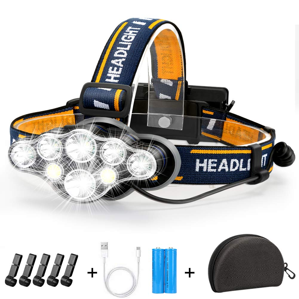 Rechargeable Headlamp Flashlight Batteries Waterproof