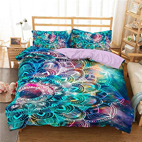 YZBEDSET Cyan Bedding Set Queen Mushroom Buddha Printed Duvet Cover Bohemian Bedspreads for Adults Bedclothes Bed Set 3Pcs,Us Twin 173X218Cm