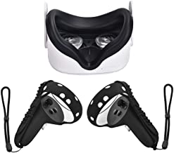 XIAOGE Silicone Controller Grip Cover for Oculus Quest 2 with Face Cover Combo, VR Headset Accessories Sweatproof Anti Collision (Black)