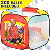 Kiddey Ball Pit Play Tent for Kids - 200 Balls Included - 6-Sided Ball Pit for Kids Toddlers and Baby - Fill with Plastic Balls or Use As an Indoor / Outdoor Children Playhouse Tent, with Carry Case