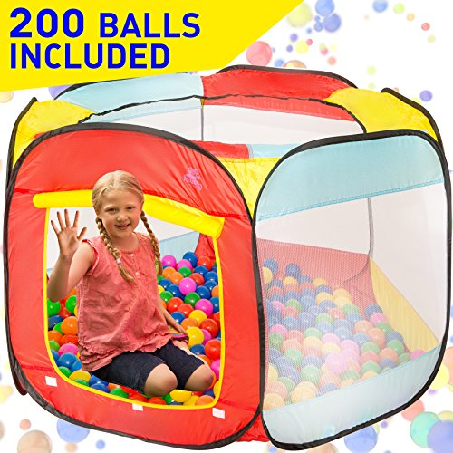 Kiddey Ball Pit Play Tent for Kids - 200 Balls Included - 6-Sided Ball Pit for Kids Toddlers and...