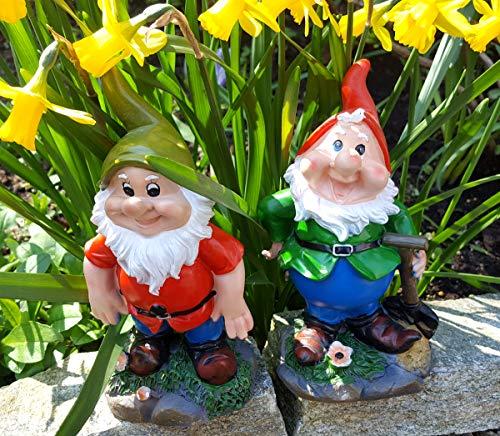 LB H&F 2 x Gartenzwerge Dekofigur Set lustige Zwerge Gartendeko Figur - wetterfest - frostsicher Gartenzwergeset außen 16x5x10cm Groß G+R (Set 1)