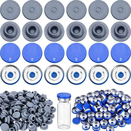 200 Piezas de 20 mm de Tapón de Goma de Vial Alumnio Tapones de Botella de Seguridad para Apertura de 13 mm