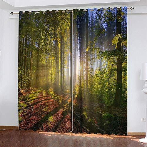 YUNSW Wald 3D Digitaldruck Gardinen, Garten Wohnzimmer Küche Schlafzimmer Verdunkelungsvorhänge, Lochvorhänge 2-teiliges Set