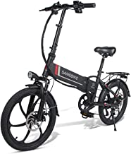 ANCHEER Aluminum Folding Electric Bike with Removable 8AH Lithium Battery, EBike with 20 inch Wheels and 350W Hub Motor (Black)