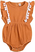 RUIVE Brown Dresses Romper for Kids Baby Girls Clothes Solid Ruffles Summer Playsuit Sleeveless Bodysuit Infant Outfits