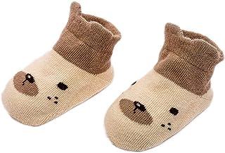 Wimagic 1 par de Calcetines de algodón Antideslizantes con diseño de Animales, Suaves y Transpirables, algodón, marrón, 2-4 años