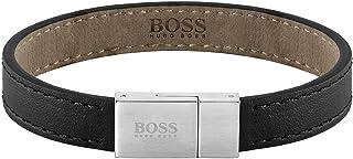 HUGO BOSS MEN'S STAINLESS STEEL & BLACK LEATHER BRACELETS -1580033M Medium