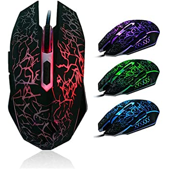 USB Computer Mice with 7Programmable Buttons 4 Circular /& Breathing LED Light 4 Adjustable DPI Up to 2400 for PC Mac Laptop Gamer Nfudishpu Gaming Mouse Wired