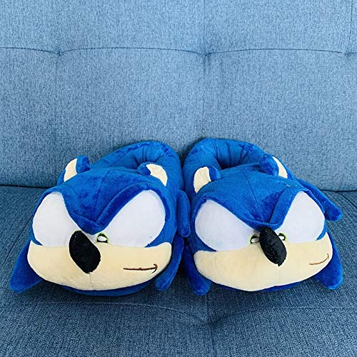 ZHTY Sonic Mario Slippers 2Pairs Sonic Peluche Toys Home Anime Animal Zapatos de Invierno Zapatos para Interiores Niños Hombres Mujeres 28 cm Song