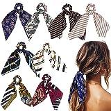 WATINC 8Pcs Silk Satin Hair Scrunchies, Scarf Hair Ties with Flower...