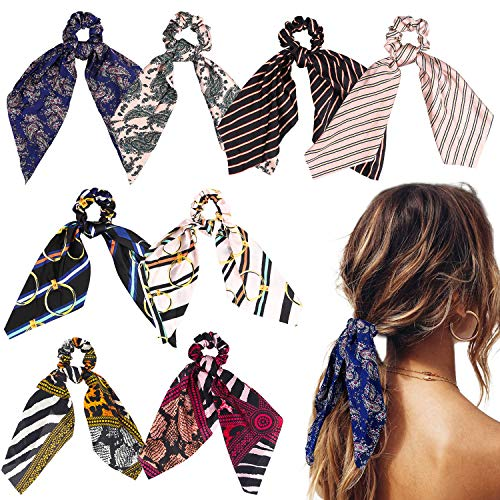 WATINC 8Pcs Silk Satin Hair Scrunchies, Scarf Hair Ties with Flower Pattern, Stripe Printed Hair Bobbles for Ponytail Holder, 2 in 1 Vintage Bowknot Hair Accessories Ropes Scrunchie for Women