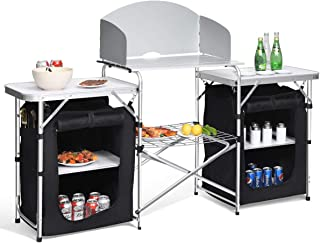 Giantex Folding Camping Kitchen Table w/ 2 Storage Organizer, Portable Aluminum Windscreen Cooking Table Easy-to-Clean, 2-Tier Outdoor Kitchen Cook Station for BBQ, Party, Picnics, Backyards (Black)