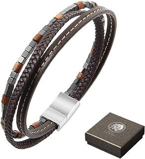 0b9114ecec44 Amazon.es: pulseras de cuero hombre