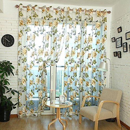 Norbi Decorative Floral Tulle Voile Door Window ROM Curtain Drape Panel Sheer Scarf Valances(Yellow)