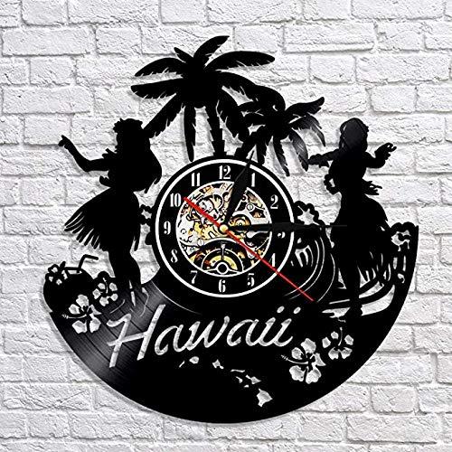 Orologio Da Parete In Vinile Creative Hawaii Orologio Da Parete Design Moderno Record Di Vinile Orologi Da Parete Digitali Orologio Decorativo Da Parete 3D Decorazioni Per La Casa Silentwith Led