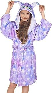 FIOBEE Kids Robe Girls Bathrobe Fleece Flannel Sleepwear Hooded Sleep Robe for Girls Spa Party