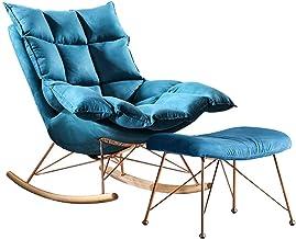 كرسي هزاز مصنوع من نسيج سويدي مضاد للجاذبية، كرسي استرخاء مع قاعدة خشبية وإطار حديد ثابت، للمطبخ وغرفة المعيشة وغرفة النوم...