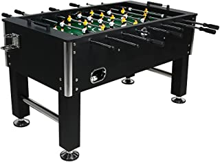 Sunnydaze Foosball Table - 55-Inch Recreational Game - Chrome Plated Steel Rods - 2 Durable Drink Holders - 4 Sturdy Leg Levelers for Competitive Football Gaming - Sports Arcade Soccer for Game Room