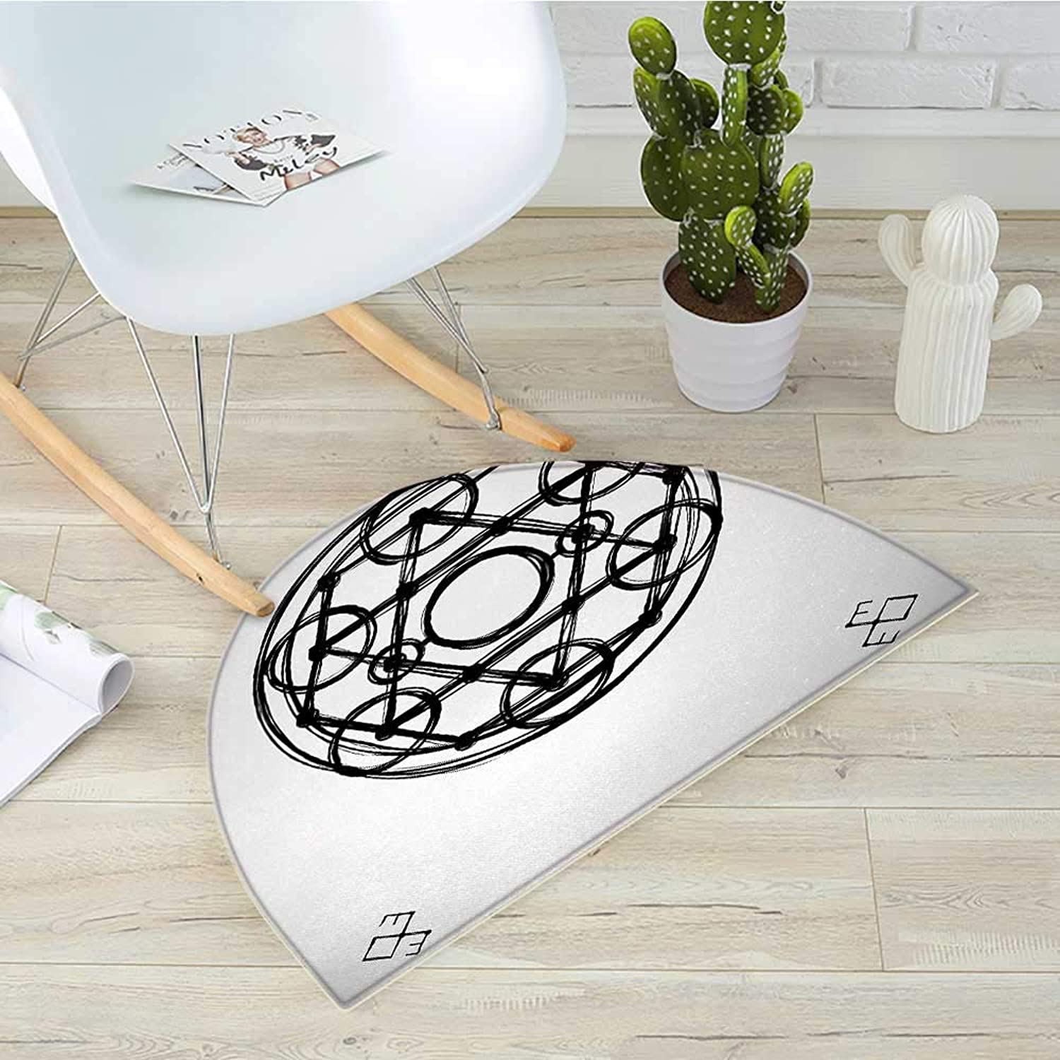 Sacred Geometry Semicircular CushionMinimalistic Rounds Form Multiple Symmetrical Triangles Occult Concept Entry Door Mat H 39.3  xD 59  Black White