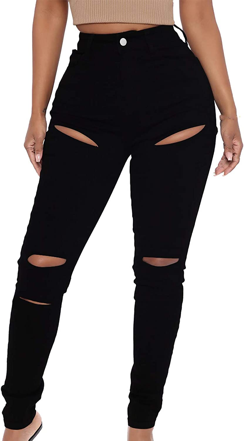 LONEA Women's Stretch Ripped Jeans Solid Color High Waist Slim Fit Pants Skinny Denim Pants