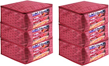 PrettyKrafts Saree Cover Set of 6 Prints Big Size/Wardrobe Organiser/Cloth Cover_Maroon